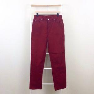 Vintage Crazy Horse Red High Rise Denim Mom Jeans